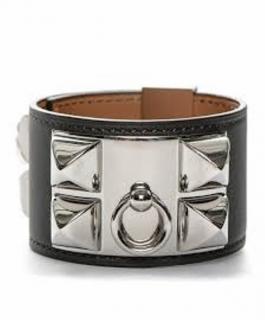 Hermes Swift Collier De Chien Silver Leather Chain Bracelet