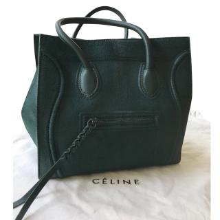 Celine Dark Green Horsehair Luggage Mini Tote Bag