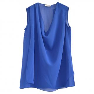 Saint Laurent blue silk draped top