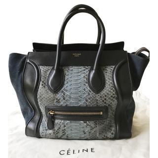Celine Dark Blue Python Luggage Tote Bag