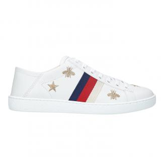 Gucci New Ace Bee & Star Embroidered Trainers