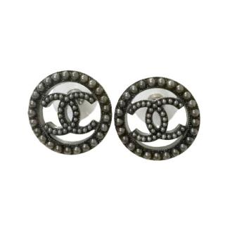 Chanel Black CC Mini Pearl Earrings
