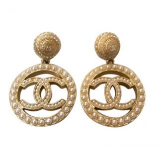 Chanel Gold CC Drop Earrings
