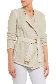 VINCE cotton-blend tweed belted jacket