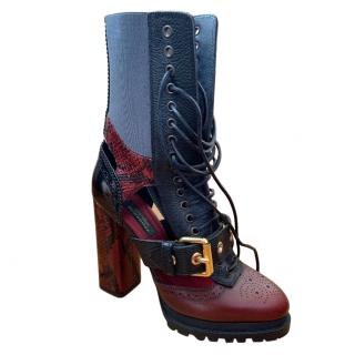 Burberry Leather & Snakeskin Cut-out Platform Boots