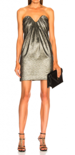 Saint Laurent strapless metallic dress