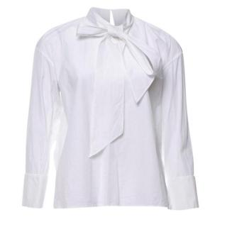 Celine tie-neck white cotton blouse