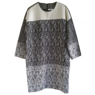 Celine black & white raffia-effect jacquard dress