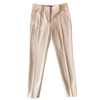 CH Carolina Herrera beige ribbed cotton-blend trousers