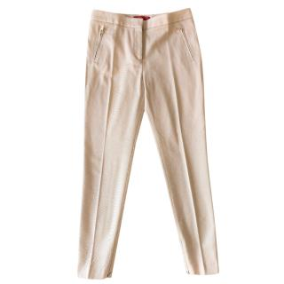 CH Carolina Herrera beige ribbed cotton-blend trousers