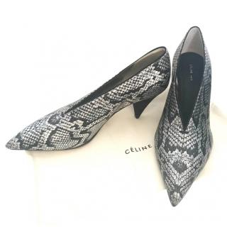 80386a5e959f Celine metallic V-neck python pumps