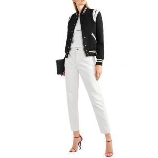 Saint Laurent Teddy leather-trimmed wool-blend bomber jacket.
