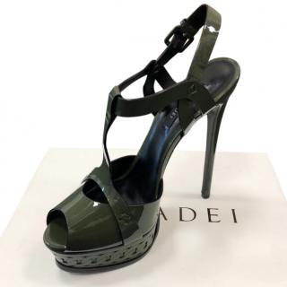 Casadei Green Patent Platform Sandals