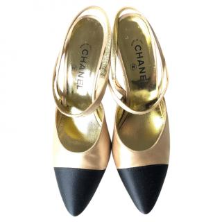 Chanel satin two tone slingback pumps