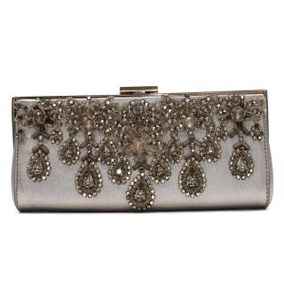 Badgley Mischka embellished leather clutch