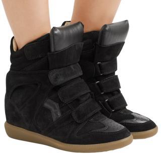 Isabel Marant Bekett Leather-Trimmed Suede Wedge Sneakers