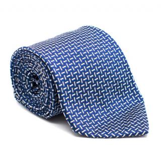 Franco Bassi blue silk-jacquard tie