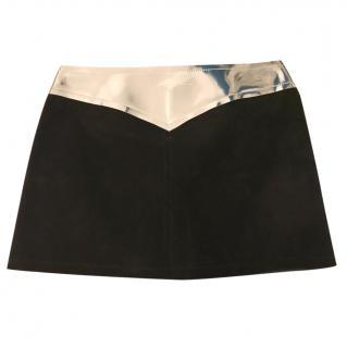 MM6 by Maison Martin Margiela black suede micro mini skirt