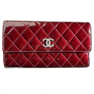 Chanel quilted burgundy patent wallet