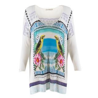 Mary Katrantzou tropical-print fine-knit top