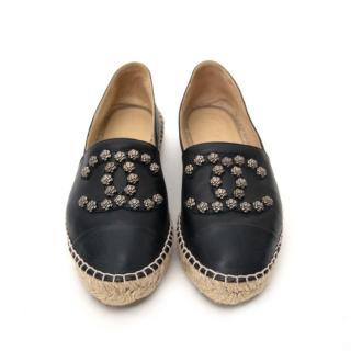 Chanel black leather stud espadrilles size 39