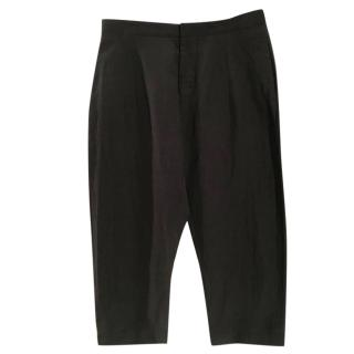 Marni viscose & linen black wide leg cropped high waist trousers
