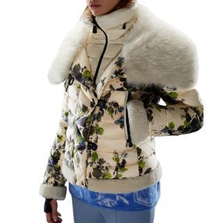 Moncler Floral Fur Trim Ski Jacket