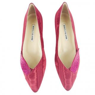 Manolo Blahnik Pink Jewelled Flats