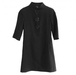 Fendi by Karl Lagerfeld Black Wool Beaded Disk Trim Dress