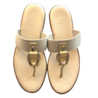 Hogan gold leather flip flops - slides
