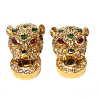 Bespoke Vintage Diamond & Emerald Yellow Gold Panther Earrings