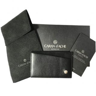 Caran Dache geneva black leather and suede men's card holder