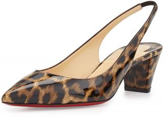 Christian Louboutin Karelli Leopard Print Sling Back Sandals