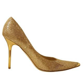 Jimmy Choo Gold 100 Pumps