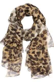 Alexander McQueen leopard and skull print silk-chiffon scarf