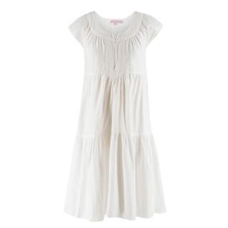 Calypso St Barth gathered cotton and silk-blend midi dress