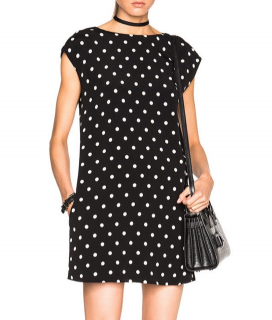 Saint Laurent Black Polka Dot Shift Mini Dress