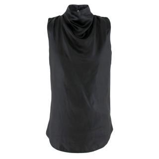 Noir black high-neck duchess-satin top