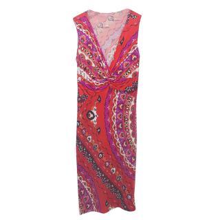 Emilio Pucci Multicolor Print Wrap Dress.