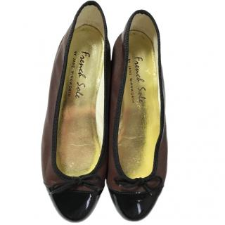 French sole leather brown and black ballet flats