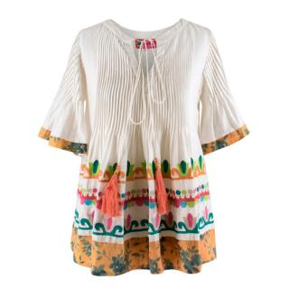 Hemant and Nandita embroidered cotton and silk-blend top