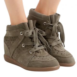 Isabel Marant Bobby Khaki/Taupe Suede Wedged Sneakers
