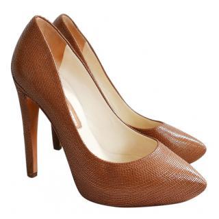 Rupert Sanderson Honey Leather Stitch Trim Platform Heels