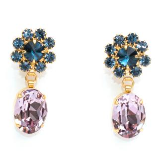 Otazu Pink and Blue Swarovski Crystal Gold Plated Earrings