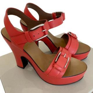 Marni coral platform sandals