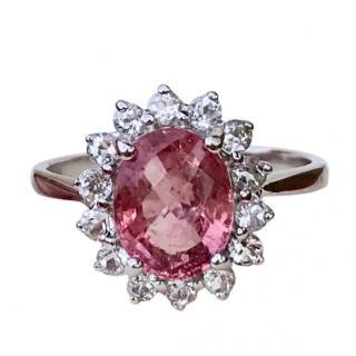 9ct White Gold Pink Tourmaline & White Topaz Cluster Ring