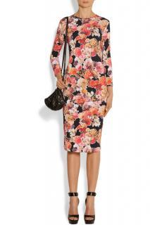 Givenchy black floral print stretch jersey dress