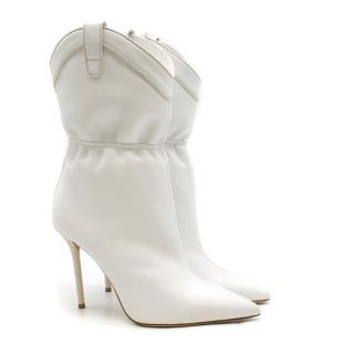 Malone Souliers Daisy 100 white leather ankle boots - Current Season