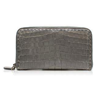 Bottega Veneta Crocodile Leather Zip Around Leather Wallet