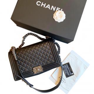 Chanel Medium Quilted Black Boy Bag